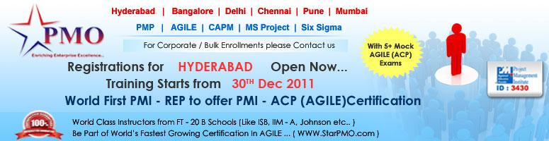PMI Agile Certified Practitioner (PMI-ACP)SM with 21 PDU\'s in Hyderabad starts from 30th Dec 2011