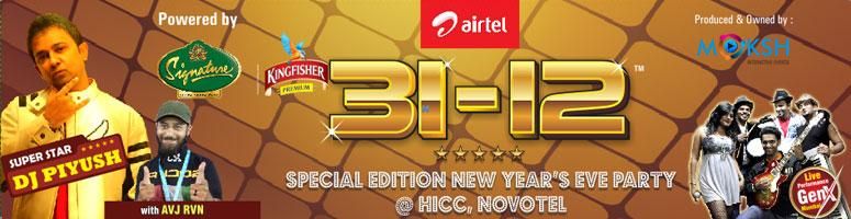 Book Online Tickets for 31-12 New Year Party With DJ Piyush @ HI, Hyderabad. 31-12 NYE 2012 (Hyderabad\\'s Biggest New Year party) hysteria is back for the third time, giving party revelers another chance to live the great life, dance, have fun & celebrate what is gone and what is to come.