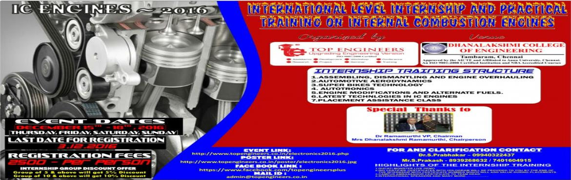 Book Online Tickets for IC ENGINES-2016, Manimangal. INTERNATIONAL LEVEL INTERNSHIP AND PRACTICAL TRAINING ON INTERNAL COMBUSTION ENGINES (IC ENGINES - 2016)  INDIA'S LEADING AUTOMOTIVE IC ENGINES INTERNSHIP TRAINING PROGRAM  Organized by   TOP ENGINEERS [India's leading e