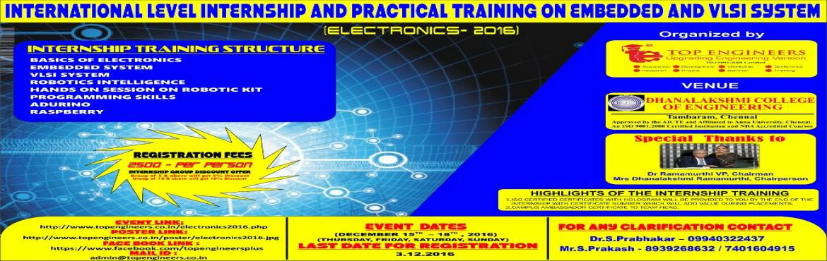 Book Online Tickets for ELECTRONICS-2016, Manimangal. INTERNATIONAL LEVEL INTERNSHIP AND PRACTICAL TRAINING ON EMBEDDED AND VLSI SYSTEM (ELECTRONICS- 2016)   INDIA'S LEADING EMBEDDED AND VLSI SYSTEM TRAINING PROGRAM EVER   Organized by    TOP ENGINEERS [India's leading educati
