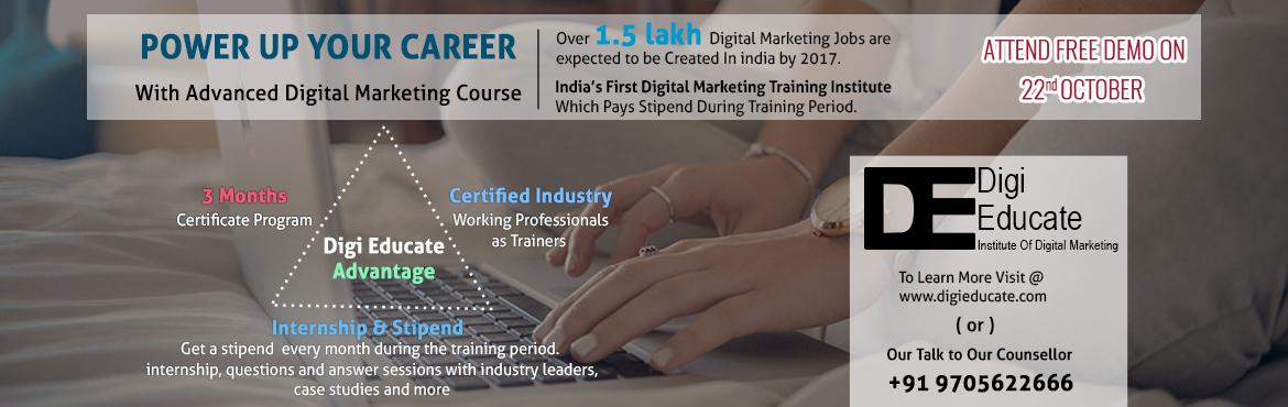 Book Online Tickets for Free Demo on Advance Digital Marketing W, Hyderabad. Are you a graduate,looking to work with a great team, have some fun, learn a ton, and kick off a long and successful career? Look no further! Advance Digital Marketing Program with Internship in association with a Global Digital Marketing company.&nb