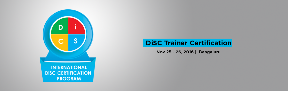 Book Online Tickets for DiSC Trainer Certification in Bangalore, Bengaluru. DiSC is the leading psychometric assessment tool used by more than 45 million people to improve work productivity, teamwork and communication.Every year, more than a million people worldwide participate in programs that use DiSC assessments. Wiley&rs