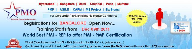 Book Online Tickets for Project Management Professional (PMP) Ce, Bengaluru. PMP Certification Workshop with Free training on MSP2010 StarPMO is pleased to announce its upcomingPMP Certification Training program at Bangalore. Workshop Dates : BANGALORE - 09,10,11, December 2011 Salient featur