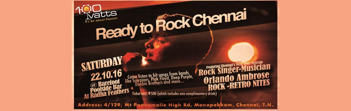 Book Online Tickets for Retro-Rock Nites, Chennai. If you love to hear Live rock hits of yesteryear then this is the perfrect place for you. Set in the luxurious environment at the newly opened Feathers Hotel of Radha Group, we guarantee that you will cherish this evening. Entertaining you is Chennai