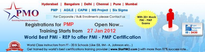 Project Management Professional (PMP) Certification with MSP 2010 @ Pune  27-29 Jan 2012