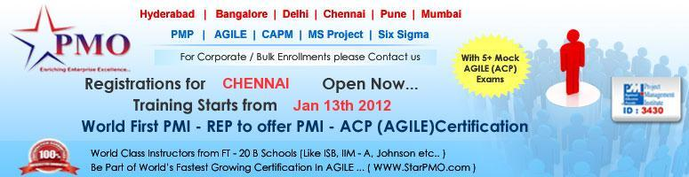 PMI Agile Certified Practitioner (PMI-ACP)SM with 21 PDU\'s in Chennai starts from 13-15 Jan 2012