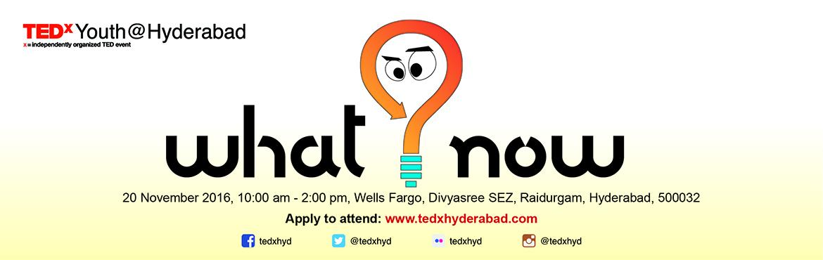 Book Online Tickets for TEDxYouth@Hyderabad 2016, Hyderabad.  TEDxHyderabad is hosting the TEDxYouth@Hyderabad 2016 event and we are back with the second edition!  TEDxYouth events are fun, imaginative, smart and are organised by young people. They bring ideas worth spreading to all ages.   &