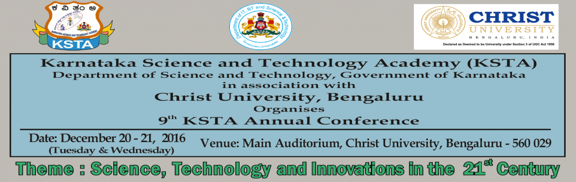 Book Online Tickets for 9th Annual Science and Technology Confer, Bengaluru. For more details visithttp://9thconference.kstacademy.in/