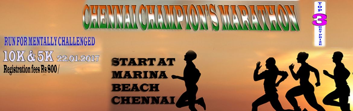 Book Online Tickets for Chennai Champions Marathon - Run for Men, Chennai. FLAG-OFF TIME: The flag-off of The Great India Marathon will take place at 05:30 am onwards in the following order: 10 Km 5 Km ROUTING: Will be informed through mailer to registered participants getting closer to the event. DELIVERABLES: The register