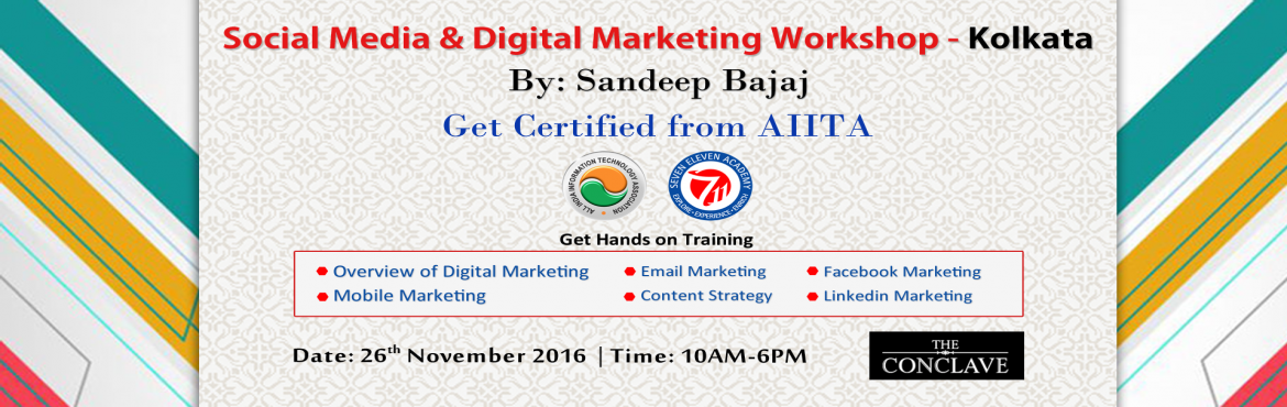 Book Online Tickets for 1 Day Workshop on Social Media and Digit, Kolkata. 1 Day Workshop on Social Media and Digital Marketing by Sandeep Bajaj   A Social Media and Digital Marketing Workshop by Bajaj that will cover the following:  -Traditional vs Digital Marketing- Mobile Marketing- SMS Marketing- Voice SM