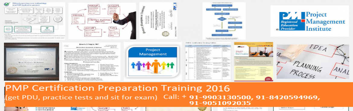 Book Online Tickets for PMP Certification Preparatory Classroom , Kolkata. About The Event   Mark your calander, PMP Certification Preparatory Classroom Training with 35PDUs in Kolkata will be held on 10th, 11th, 17th & 18th December 2016. The Project Management Professional (PMP®) program is designed to lead