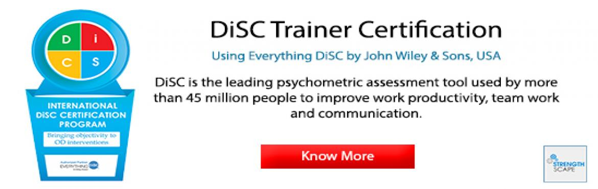 Book Online Tickets for DiSC Trainer Certification in Chennai , Chennai. DiSC is the leading psychometric assessment tool used by more than 45 million people to improve work productivity, teamwork and communication.Every year, more than a million people worldwide participate in programs that use DiSC assessments. Wiley&rs