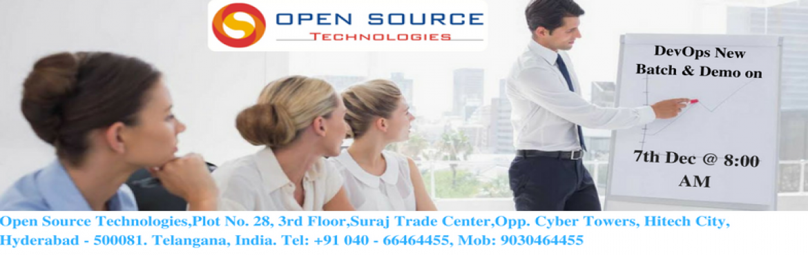 Book Online Tickets for  DevOps Demo And New Batch on 7th Dec 20, Hyderabad. DevOps Training in Hyderabad  Training Overview  This DevOps Training in Hyderabad is designed for all the interested candidates to have a successful career path. The entire subject is divided into various modules and each module is explained with re