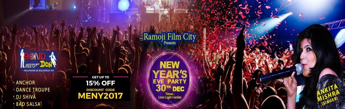 Book Online Tickets for New Years Eve Party at Ramoji Film City , Hyderabad. Brief Deion: - Experience the splendors of New Year's Eve party with much-loaded fun & entertainment. You will be spellbound with the dreams of Bollywood styled musical fiesta, Bollywood theme dance along with the pulsating&n