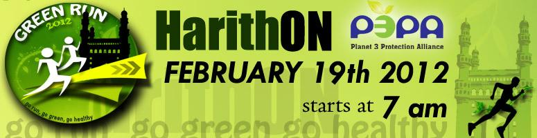 Book Online Tickets for Harithon - Green Run on Feb 19th, 2012 a, Hyderabad. Harithon is a Green Run organized by PLANET 3 PROTECTION ALLIANCE to promote Health and Eco-Friendly ways for a better living. Harithon aims to make people involve in fulfilling their social objectives and owning responsibilities in society by m
