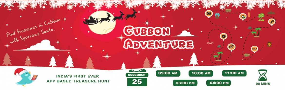Book Online Tickets for Sparrowz Cubbon Adventure, Bengaluru. Think you know Cubbon Park? We Challenge your confidence! Sparrowz Santa has created some easy and tough clues for the hidden treasures in our own Cubbon Park.Come play the treasure hunt on the Sparrowz App and discover them through a truly enga