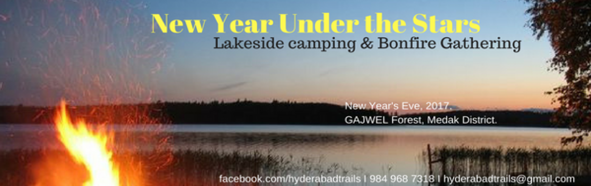 New Year under the Stars. Lakeside Camping and Bonfire Gathering