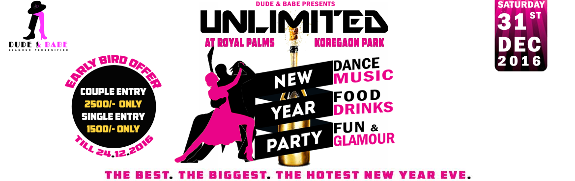 Book Online Tickets for UNLIMITED - NYE 2017, Pune.    UNLIMITED FOOD - Menu  Chicken Biryani with Raita/Salan. Veg Biryani with Raita/Salan.  Veg noodles with Manchurian Gravy.  Pavbhaji Tava pulao. Salad  UNLIMITED DRINKS - Menu  Whiskey  Blenders Signature Royal Stag Rum Old Monk Bacardi