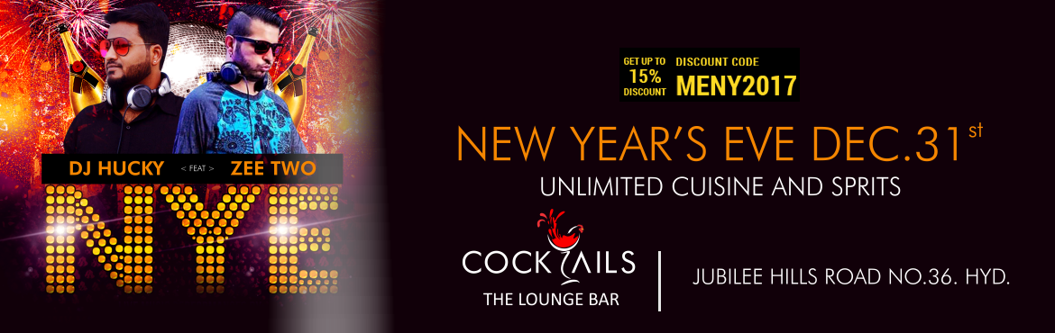 Book Online Tickets for New Year Bash At Cocktails Lounge, Hyderabad. Welcome 2017 in style at The Chancery Pavilion, where we bring to you some of the most renowned International DJs tuning into Electronic and Commercial music. We have also roped in some of the most popular National DJs for those Bollywood fans.