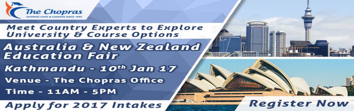 Book Online Tickets for Australia-New Zealand EduFair, The Chopr, Kathmandu.    An excellent opportunity with this education fair in India brought by The Chopras for the students aspiring for higher education overseas to interact with the expert delegates from top-ranking Universities of Australia and New Zealand and get bril