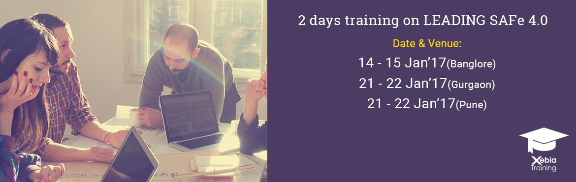 Book Online Tickets for Leading SAFe 4.0 Training Pune 21-22 Jan, Pune. LEADING SAFe 4.0 This two-day course teaches the Lean-Agile principles and practices of the Scaled Agile Framework® (SAFe®). You'll learn how to execute and release value through Agile Release Trains, how to build an Agile Portfolio, an