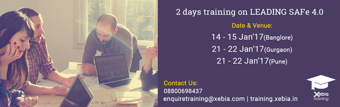 Book Online Tickets for Leading SAFe 4.0 Training Gurgaon 21-22 , Gurugram. LEADING SAFe 4.0 This two-day course teaches the Lean-Agile principles and practices of the Scaled Agile Framework® (SAFe®). You'll learn how to execute and release value through Agile Release Trains, how to build an Agile Portfolio, an