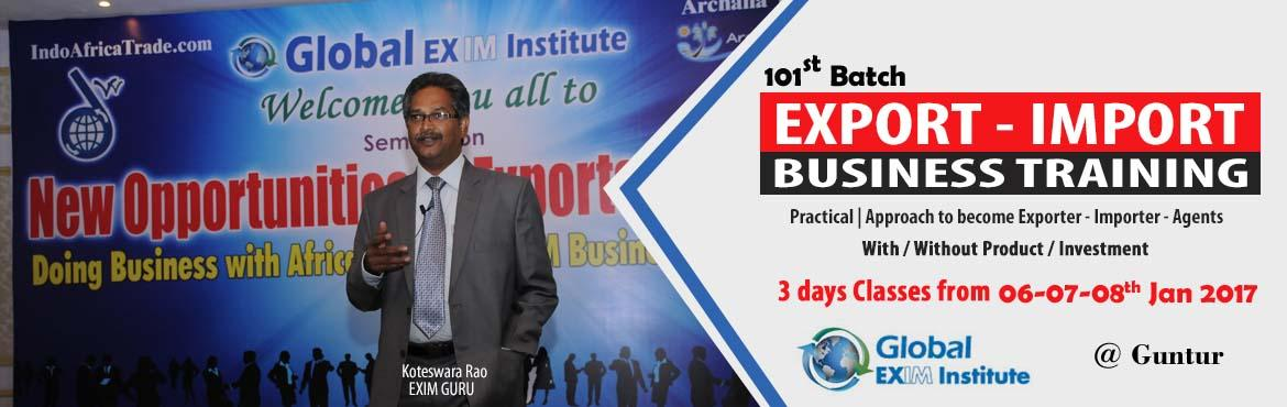 Book Online Tickets for Become Exporter /Importer / Agent in Int, Guntur. This Export Import Business training is aimed at Small and Medium companies who aspire to take their business to International markets. The workshop is conceived to help CEO /owner-managers / Senior executives of Indian companies who wish to develop