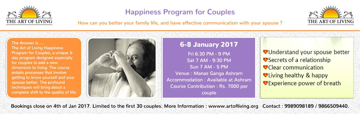 """Book Online Tickets for Happiness Program for Couples, Hyderabad. Only the heart can speak or hear that which is authentic"""" Sri Sri  Who is the course for?  The Art of Living Happiness Program for Couples is for any couple who wants to invest in their relationship, whether you have been together 1"""