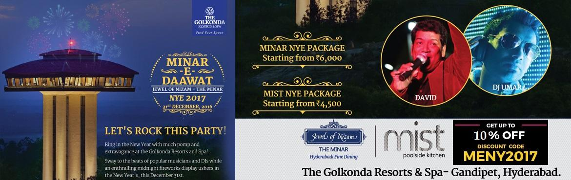 Book Online Tickets for New Year Celebrations 2017 at The Golkon, Hyderabad. The Golkonda Resort -Raat Baaki  Hyderabad's most premium resorts, The Golkonda Resorts & Spa at Gandipet are organizing two distinct New Year's Eve events to celebrate 2017. For those that prefer the outdoors, Raat Baaki