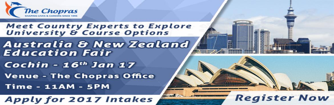 Book Online Tickets for Australia-New Zealand Education Fair 201, Ernakulam. A brilliant opportunity for all the aspiring students of overseas education to engage in direct dialogue with the expert delegates from world ranking Universities of Australia and New Zealand and experience excellent Career counseling for your future
