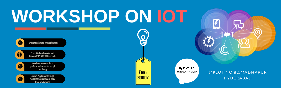 Book Online Tickets for Designing IOT Applications using NODEMCU, Hyderabad. IOT [INTERNET OF THINGS]  This workshop is mainly aimed to create awareness on IOT by giving Hands-on experience of building an IOT application.  Target Audience: Prior experience with electronics background will help.       Works