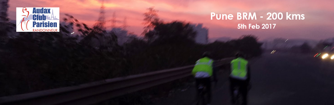 Book Online Tickets for 5th Feb 2017 Pune BRM - 200 kms , Pune. Start Time :06:00 am Starting Point :CCD - Chandni Chowk Distances-Times :200 Km – 13.5 Hrs For further details click the link given below:http://www.audaxindia.org/pune-randonneurs-pune-maharashtra-c-7
