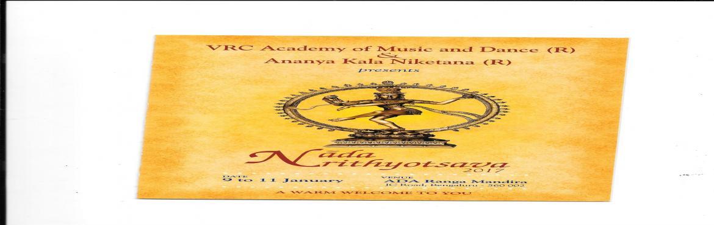 Book Online Tickets for NAADANRITYOTSAVA, Bengaluru. VRC ACADEMY OF MUSIC& DANCE Celeberating it\'s Annual Dance Festival 2017 with Ananya Kalaniketana from January 9th to January 11th. Venue: ADA RANGA MANDIRA, J.C.ROAD, BANGALORE (OPP: RAVINDRA KALAKSHETRA) Jan. 9th   &nbs