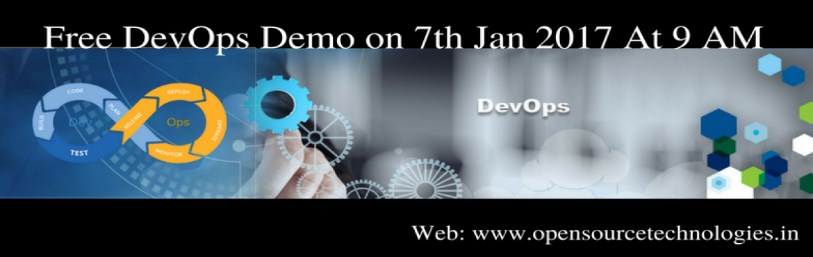 "Book Online Tickets for Open Source Technologies Is Offering Fre, Hyderabad. ""It's Time To Attend The Best Demo On DevOps Attended By The Skilled Experts At Open Source Technologies""  Open Source Technologies is very pleased to announce that it is about to conduct free demo on DevOps attended by highly skill"