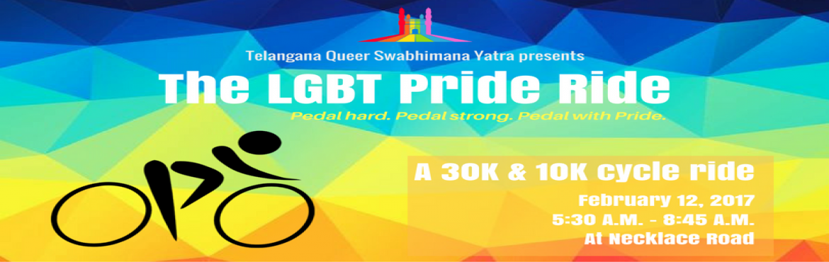 Book Online Tickets for LGBT Pride Ride, Hyderabad. All set to walk the rainbow carpet? With just one more week to go, how about we warm ourselves up a bit? Telangana Swabhimana Yatra is back with another kick-ass event which is going to immerse each one of you into all the Pride spirits! Let\'s