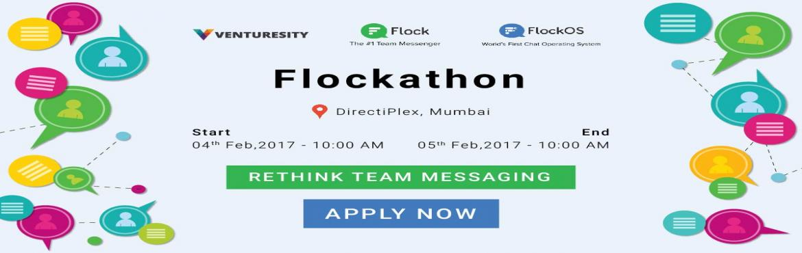 "Book Online Tickets for Flockathon, Mumbai. About  Flockathon : Flock.co, the #1 Office Team Messenger invites you to use Flock and build some great extensions at ""The Flockathon"" on the 4th Feb, 2017 in Mumbai and win Great Cash Prizes, goodies too. Regist"