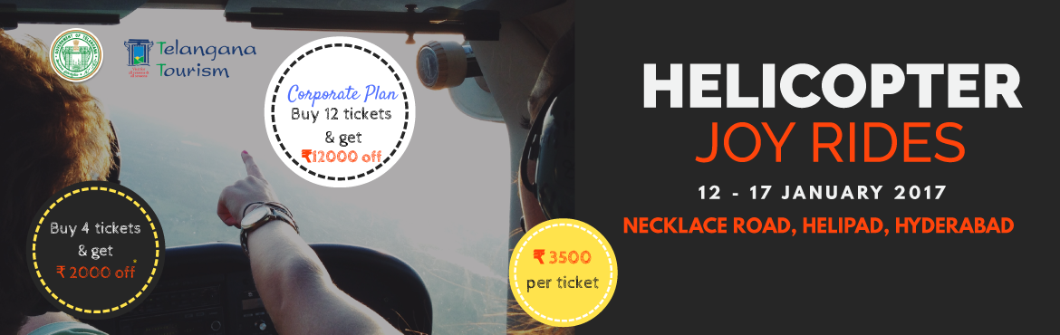 Book Online Tickets for  Helicopter Joy Rides, Hyderabad. Spot Bookings Available for details please Contact Govind: 9447777110   Birds Eye View of the beautiful city of Hyderabad. Take-Off Point - Necklace Road Helipad. Twin Engine Bell 412 Helicopter. Event Agenda and Attractions - Discount