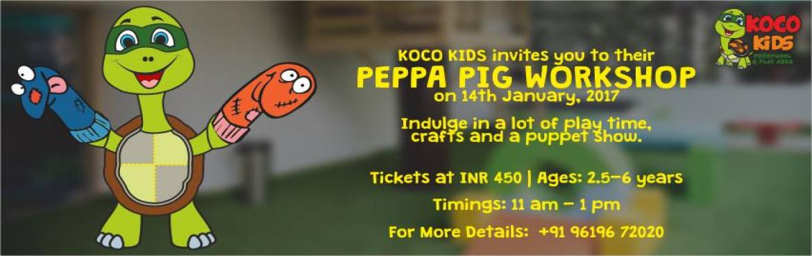 Book Online Tickets for Peppa Pig Workshop At Koco Kids, Mumbai.    ​   Outdoor activities are always fun for kids, but to make them have fun indoors can be a difficult task. Do not worry, Koco Kids has the best solution for your dilemma and Peppa Pig Workshop is one such thing wherein t