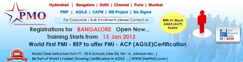 PMI Agile Certified Practitioner (PMI-ACP)SM with 21 PDU\'s in Bangalore starts from 13th Jan 2012