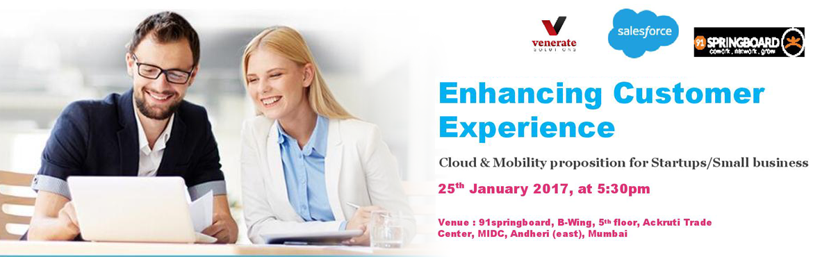Book Online Tickets for Enhancing Customer Experience for Startu, Mumbai. An interactive, knowledgeable session by Salesforce and Venerate Solutions which would help you in the process to improve your overall Customer Experience Management (CXM). Learn how to build and develop applications quicker and more seamlessly using