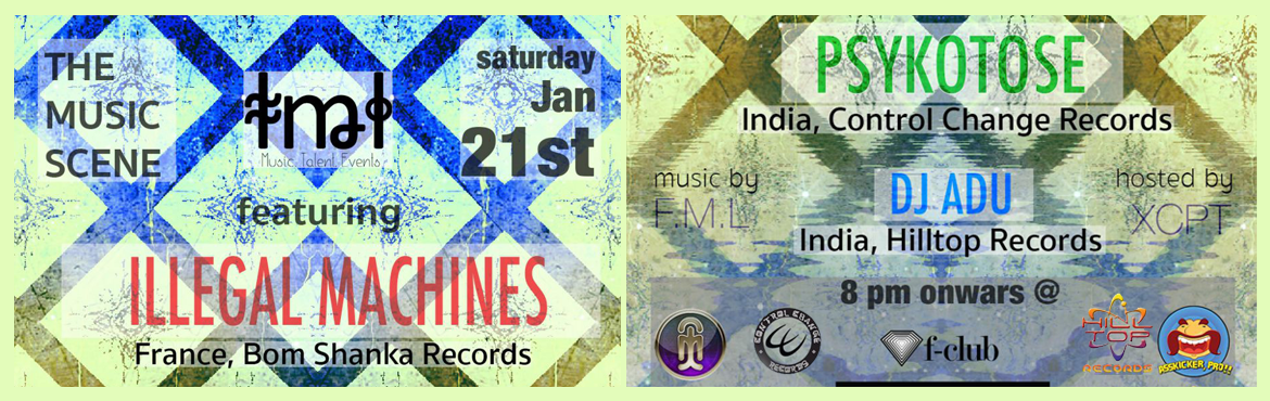 Book Online Tickets for The Music Scene - Featuring the best of , Hyderabad. This Saturday, legendary electronic Producer & DJ, Illegal Machines (France) comes to invade your ears with sounds of the beyond. On his first ever trip to Hyderabad he is joined by DJs Psykotose and ADU, mixing some fresh, high tempo, foot-stomp