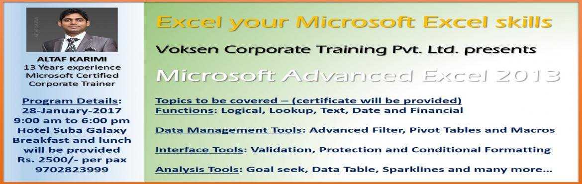 Book Online Tickets for Advanced Excel 1 Day Training, Mumbai.