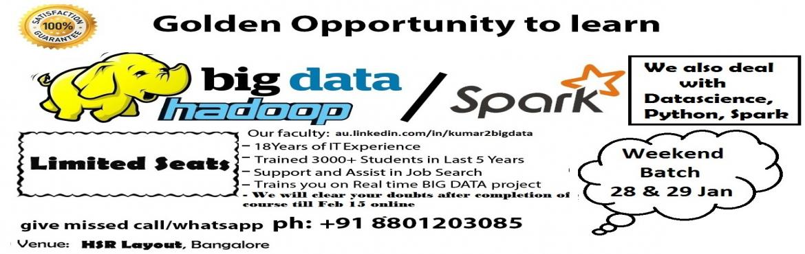 Book Online Tickets for Training on Hadoop Development (We also , Bengaluru. Faculty 18+years of Experience in IT Trained 3000+ students in last 5 years Support and Assist in Job Search Train you on Real Time Projects We also clear doubts after completion of course till feb 2017 online  Please Register Here: http://bit.l