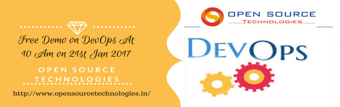 "Book Online Tickets for Open Source Technologies Offering Free D, Hyderabad. It's Time To Attend The Best Demo On DevOps Under Skilled Experts At Open Source Technologies""  Open Source Technologies is about to conduct free demo on DevOps attended by the highly skilled experts to create awareness among the youth re"
