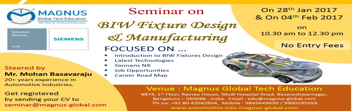 Seminar On BIW Fixture Design and Manufacturing