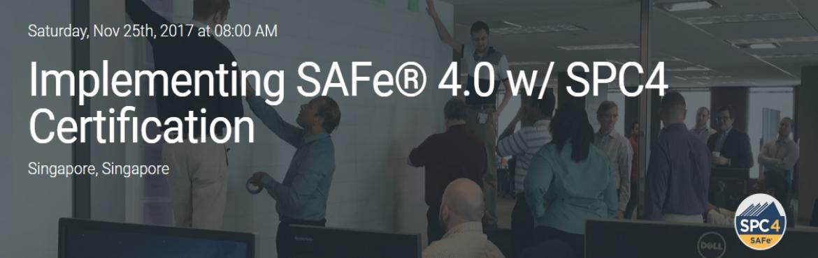 Book Online Tickets for Implementing SAFe 4.0 w/ SPC4 Certificat, Singapore. This four-day course will prepare you to lead an enterprise Agile transformation by leveraging the Scaled Agile Framework®(SAFe®). You will learn how to effectively apply the principles and practices of SAFe, including training and coaching t