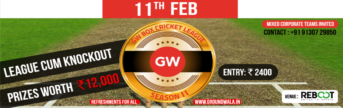 Book Online Tickets for GW Box Cricket League 2, Pune. Total players per side: 6 (plus 2 substitutes optional) Total overs per side: 6 overs Batting: Min 2.0 over per pair. Batting side bats in fixed pairs, if any one batsman of the pair is out (after minimum 2 over quota) both the players are declared o