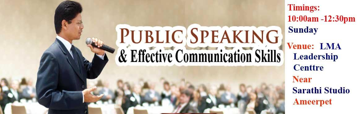 Book Online Tickets for Public Speaking and Effective Communicat, Hyderabad. Public speaking is a common source of stress for everyone, but the best way to develop oneself. Anyone can give a speech. But not everyone can give an excellent speech. To give an excellent speech one of the main principles to be kept in mind will be