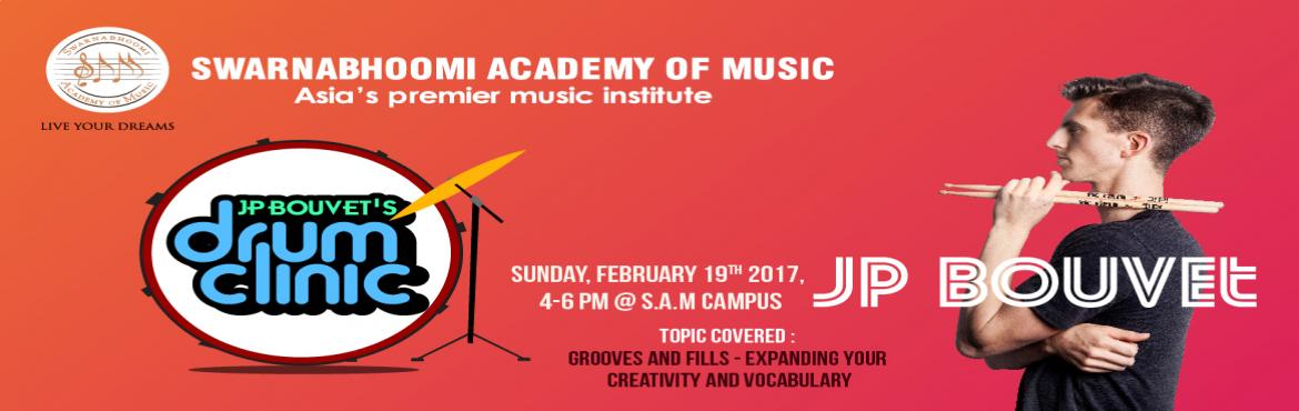 Book Online Tickets for JP Bouvet Drum Clinic copy, Kancheepur. Swarnabhoomi Academy of Music, Asia's Premier Music Institute based in Chennai brings to all Drum enthusiasts – an interesting and exciting Drums Clinic conducted by the renowned JP Bouvet. This 2 hour Drum Clinic will be conducted on 19t