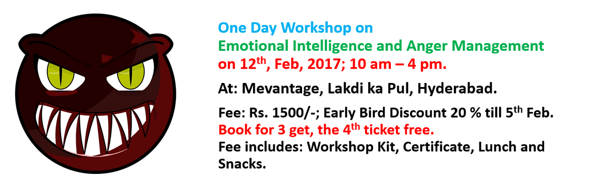 Book Online Tickets for Workshop on Emotional Intelligence and A, Hyderabad. Ever thought, what is the difference between people who are liked and people who are hated, people who have control in all areas of life and people who do not have control on anything...  IT IS OUR ABILITY TO MANAGE OUR EMOTIONS WHICH DISTINGUI